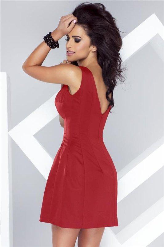 carmen czerwona mini sukienka rozkloszowana na studniówkę