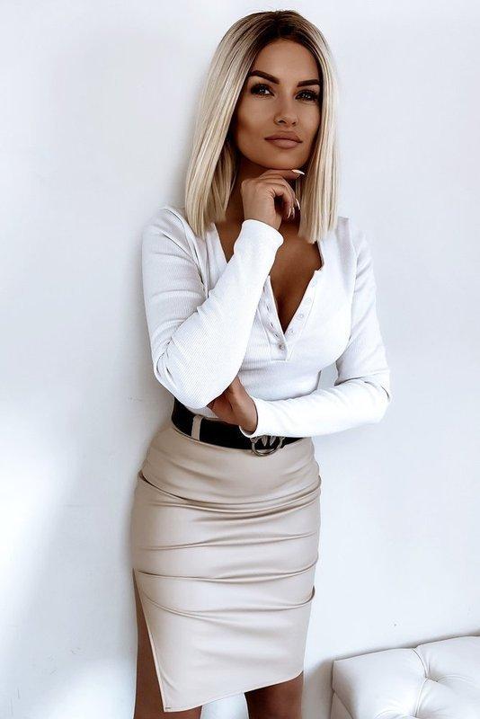 Damska Bluzka Basic Guziki- biała