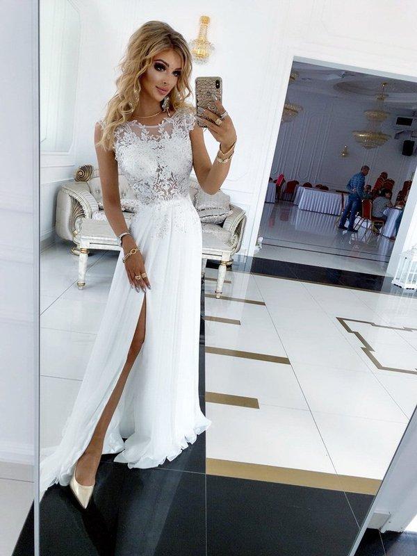 Długa Suknia Ślubna Diva bis z odkrytymi plecami  - biały