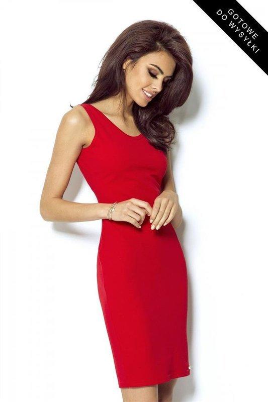 Dopasowana  linda czerwona klasyczna mini sukienka na ramiączkach