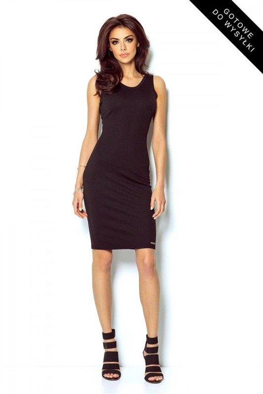Dopasowana  linda mała czarna klasyczna sukienka ołówkowa do pracy