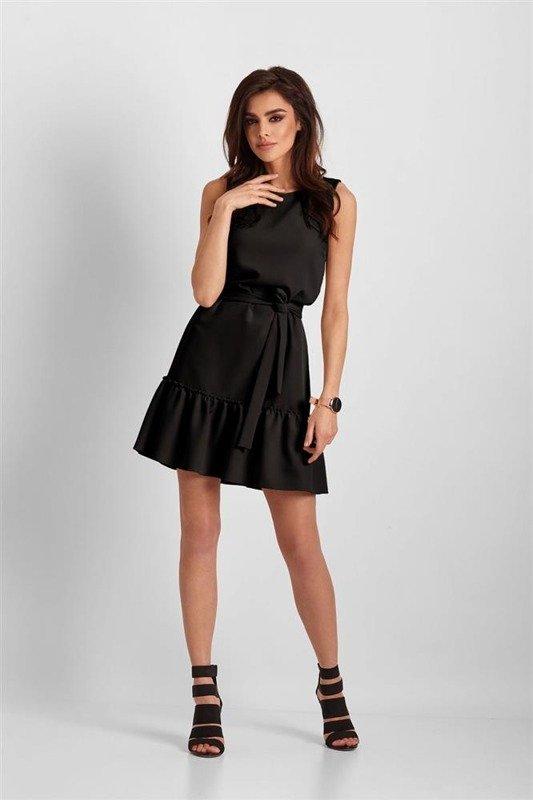 Elegancka  lorena bez rękawów mała czarna sukienka boho z falbanką