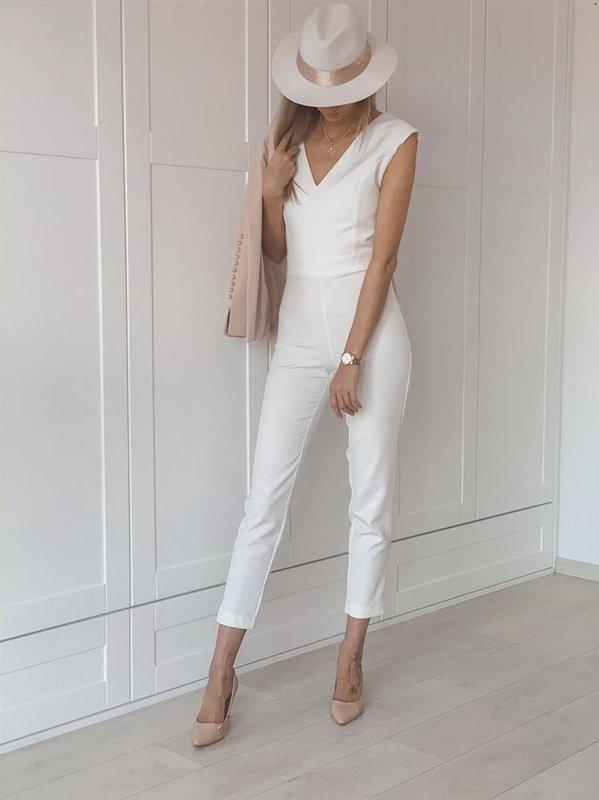 Elegancki biała  kombinezon damski monique na wesele