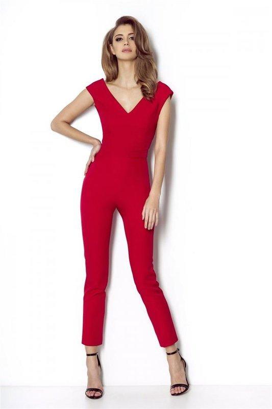 Elegancki czerwona  kombinezon damski monique na wesele z odkrytymi plecami