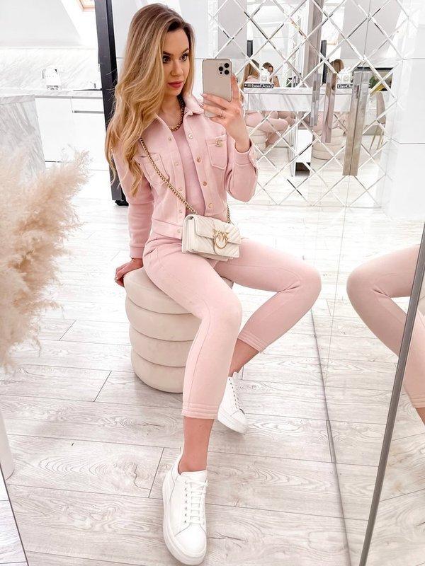 Komplet bluzka + top + spodnie - różowy