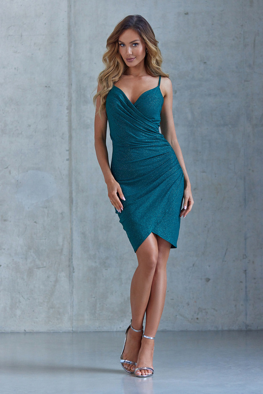 Krótka Sukienka Bella z brokatem- zielony