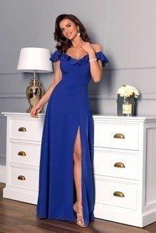 Marbella - długa suknia z falbanami- chabrowy