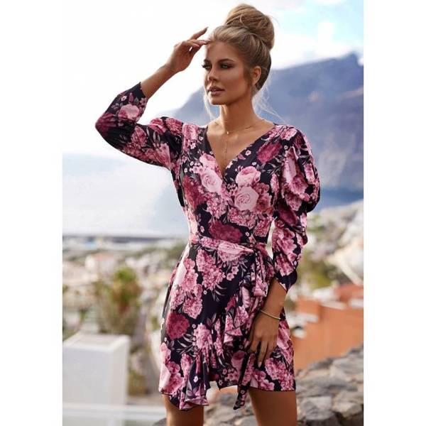 Sukienka HARPER- CZARNA - RÓŻOWE KWIATY