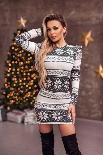 Sukienka Świąteczna Bufki Norway White
