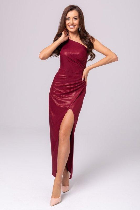 Sukienka na jedno ramię z rozcięciem- bordo błysk