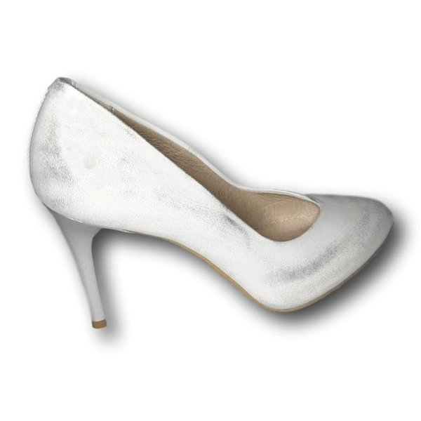 Szpilki skórzane srebrne przecierane buty czółenka ślubne
