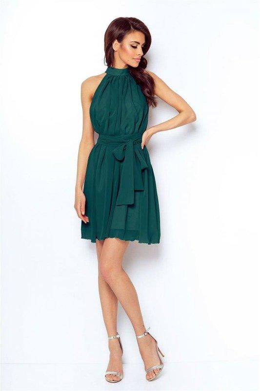 Szyfonowa  livia zielona   sukienka  rozkloszowana    ze stójką