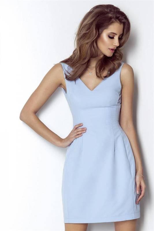 april krótka wizytowa niebieska sukienka rozkloszowana do pracy