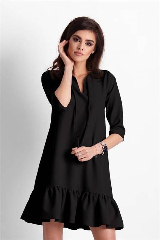 elvira czarna mini sukienka boho rozkloszowana z falbaną do pracy