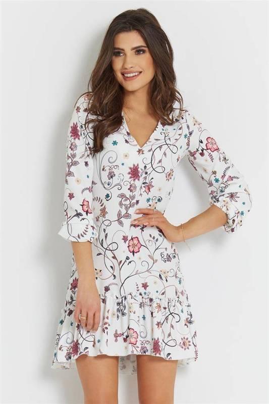 irina biała   sukienka  rozkloszowana  na codzień  w kwiatki
