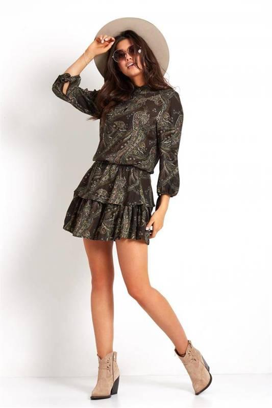kaya khaki mini sukienka rozkloszowana na co dzień we wzory