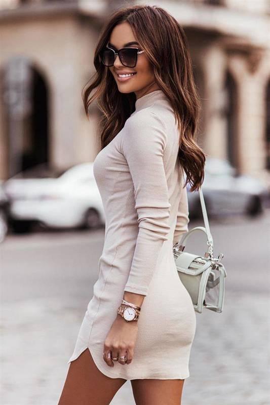 marinessa krótka elegancka beżowa sukienka ołówkowa do pracy