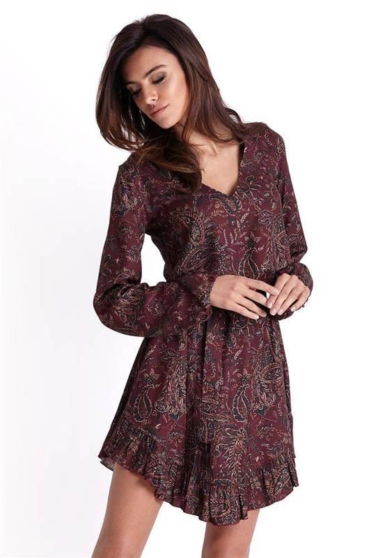 masha w stylu boho bordowa mini sukienka rozkloszowana we wzory