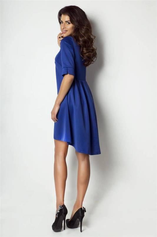 midi elegancka niebieska sukienka rozkloszowana na sylwestra