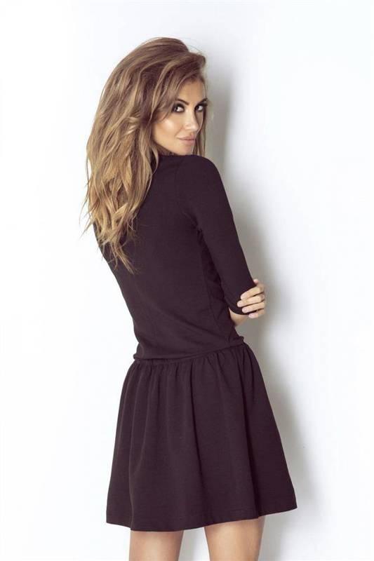 nathalie krótka czarna sukienka dresowa rozkloszowana na co dzień