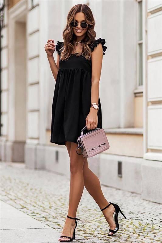 noel mała czarna elegancka sukienka rozkloszowana do pracy