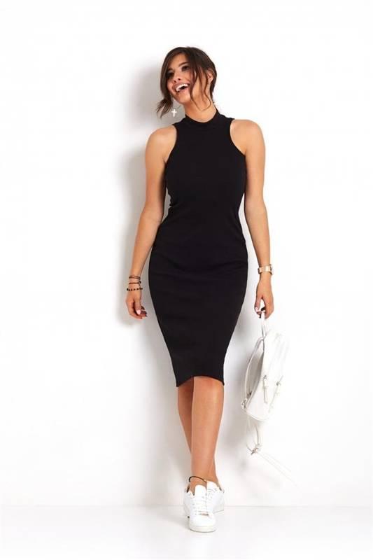 rosa mała czarna sukienka ołówkowa ze stójką na co dzień