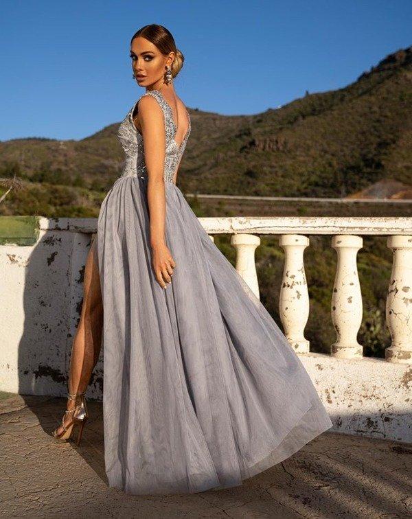 CHIARA - długa suknia wieczorowa-srebrny