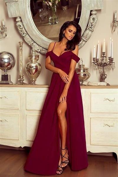 Długa Sukienka Elizabeth - bordowa