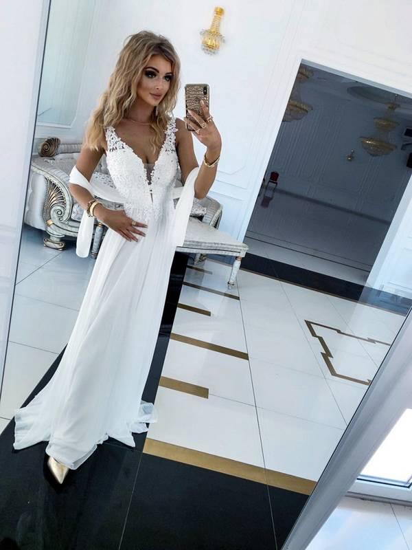 Długa Sukienka JAGODA-biały