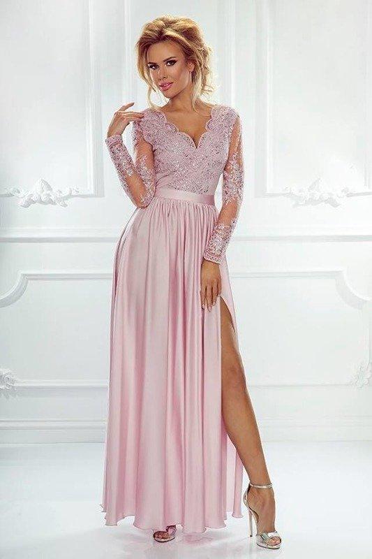 Długa Sukienka LUNA koronkowa - Pudrowy róż