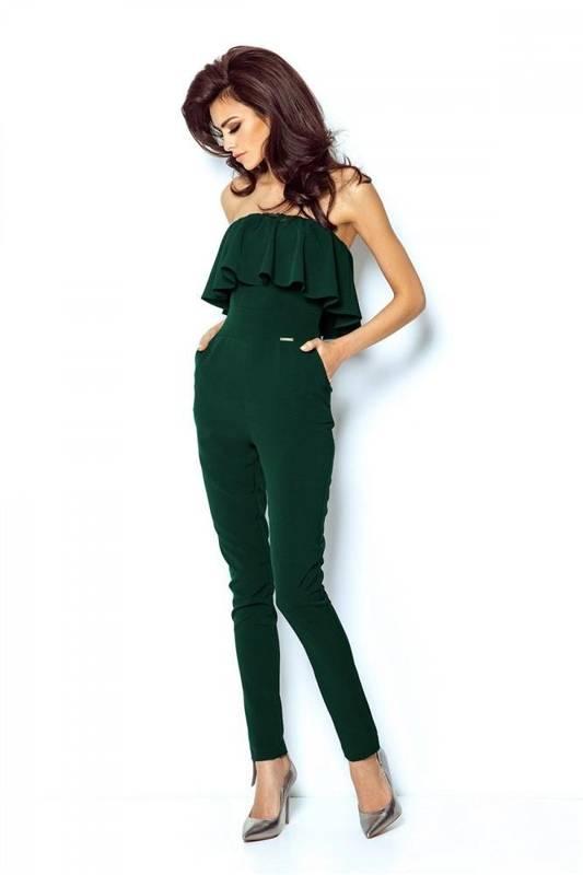 Elegancki zielona  kombinezon damski nicole na wesele z odkrytymi plecami
