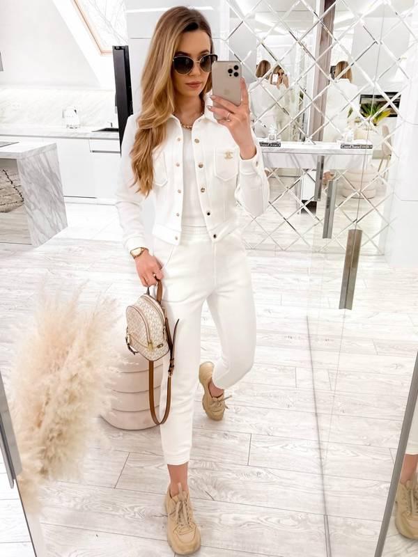 Komplet bluzka + top + spodnie - ecru