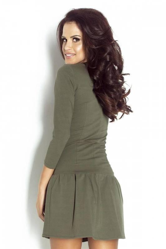Minimalistyczna  katie krótka khaki sukienka rozkloszowana dresowa