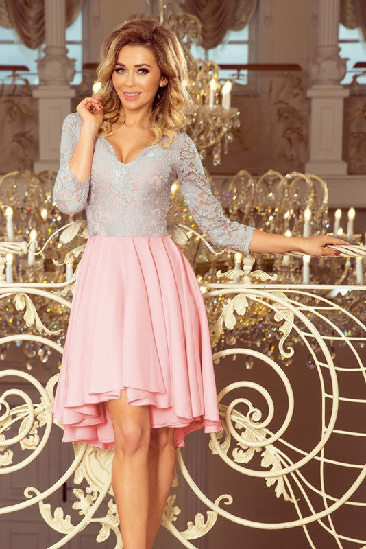 NICOLLE - sukienka z dłuższym tyłem -pudrowo-szary