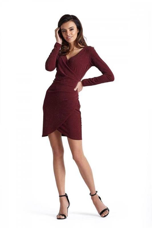 Połyskująca  marika o kopertowym fasonie bordowa elegancka mini sukienka na sylwestra