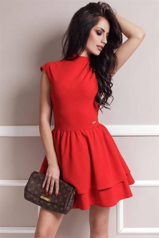 Rozkloszowana  sandra czerwona wizytowa mini sukienka