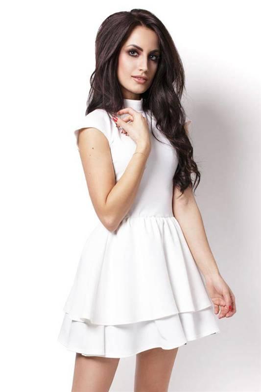 Rozkloszowana  sandra krótka elegancka ecru sukienka