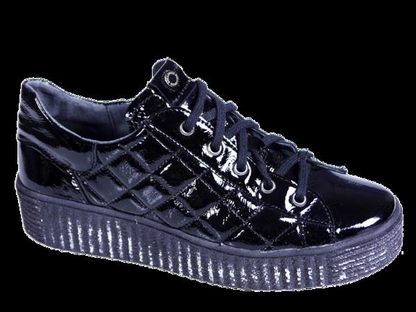 Sneakersy skórzane damskie  - czarny