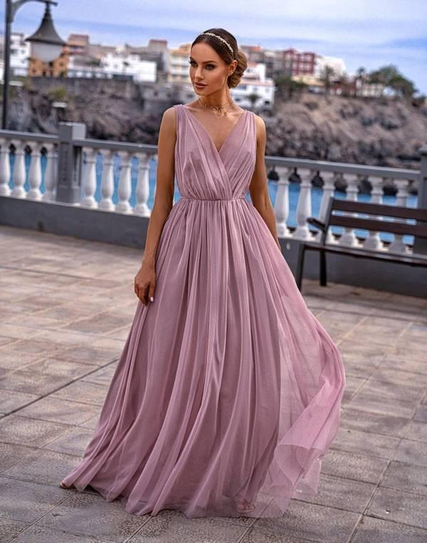 Sukienka - AGNES - pudrowy róż z połyskiem