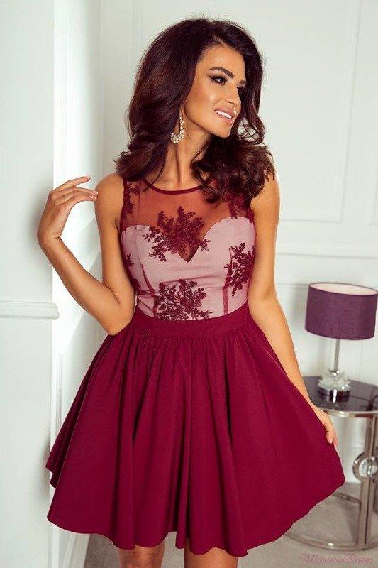 Sukienka Susan mini- bordo+beż