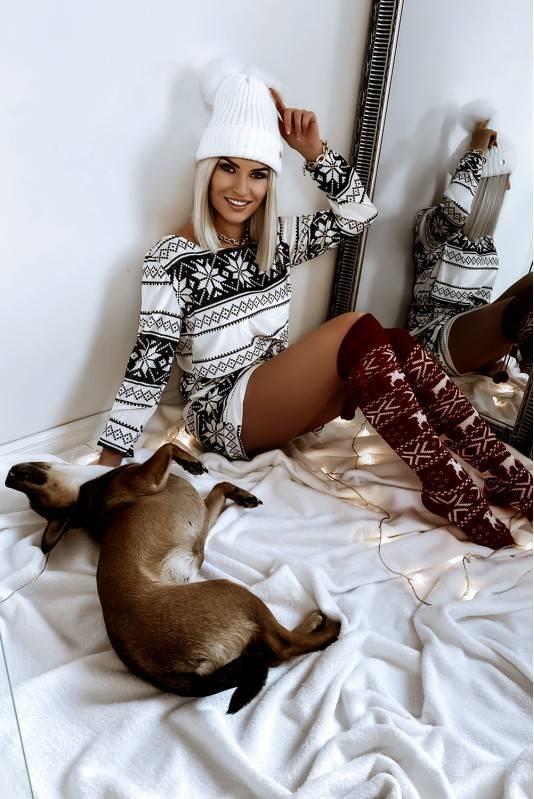 Sukienka Świąteczna VELVET  Norway White