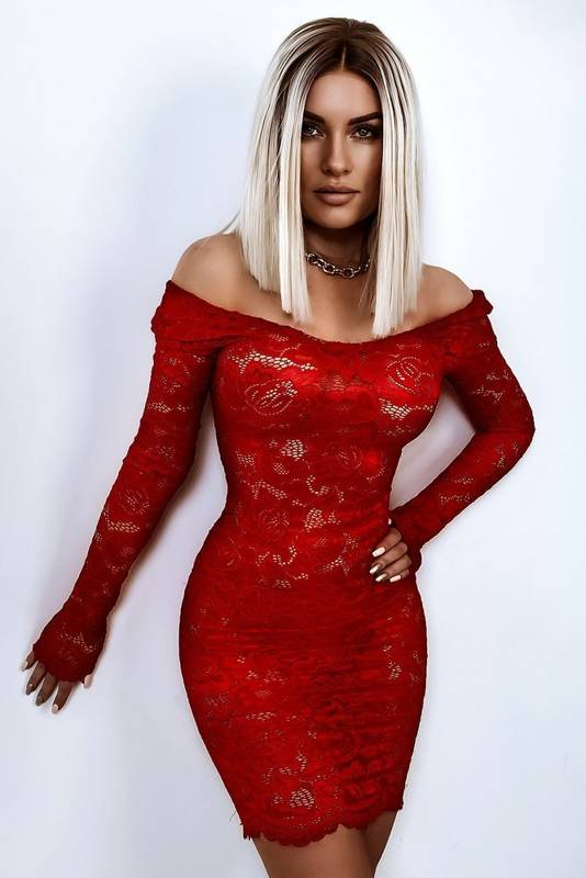 Sukienka halka koronkowa- czerwony