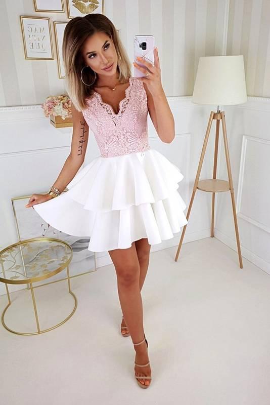Sukienka koronkowa z podwójną falbanką-biało-różowy