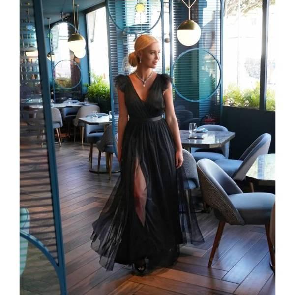Sukienka maxi tiulowa - GRACE - CZARNA