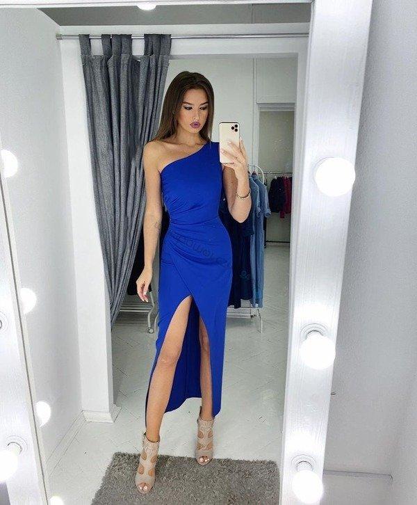 Sukienka na jedno ramię z rozcięciem- niebieski