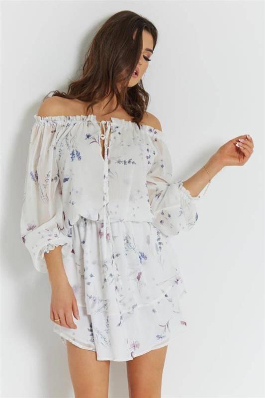 Szyfonowa  bali biała   sukienka  rozkloszowana    na codzień