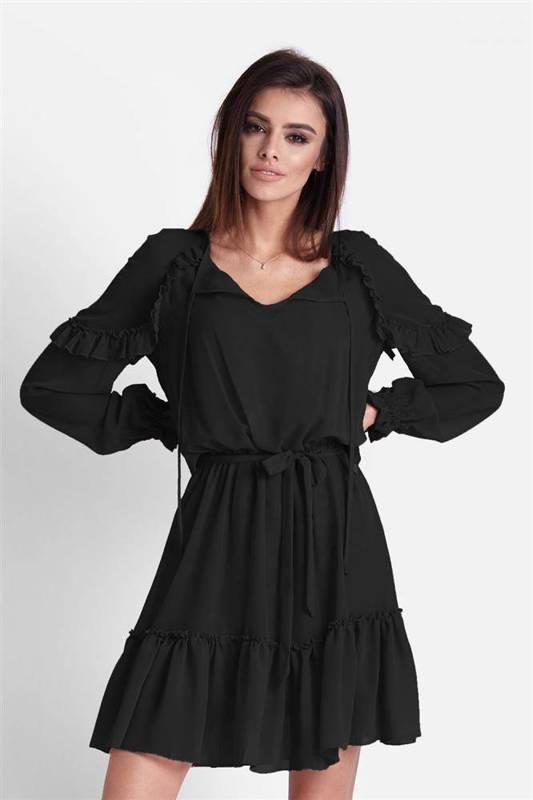 Szyfonowa  felicia mała czarna   sukienka      z falbaną