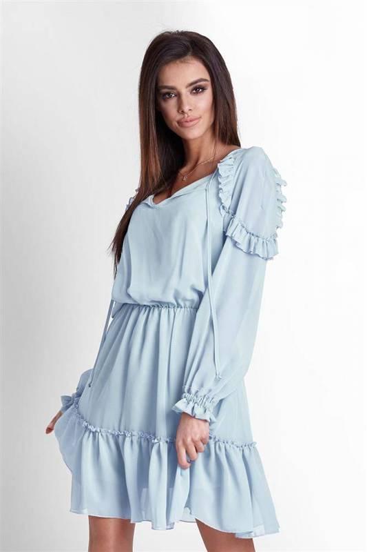 Szyfonowa  felicia niebieska   sukienka    na codzień  z falbanką