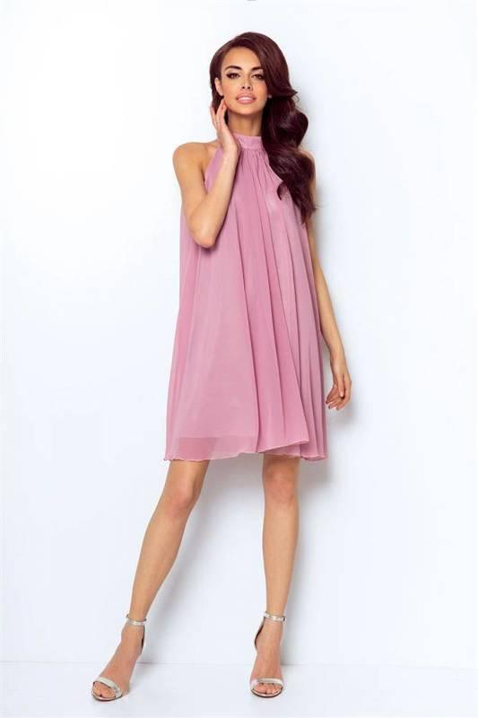 Szyfonowa  livia różowa   sukienka  rozkloszowana    ze stójką