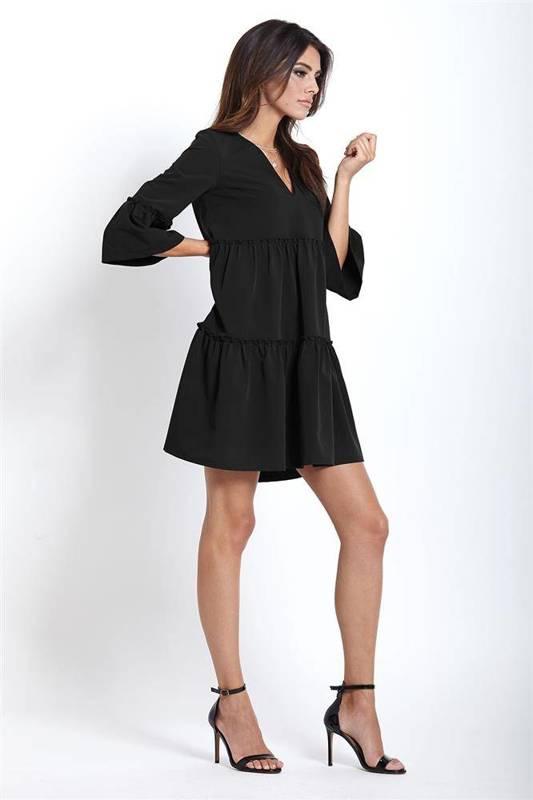 Trapezowa  greta krótka czarna sukienka rozkloszowana do pracy boho